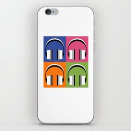 Headphones in bright colours iPhone Skin