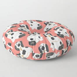 Staffordshire Dog Figurines No. 2 in Neon Peach Floor Pillow