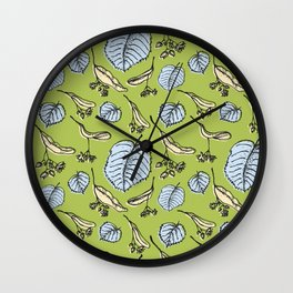 Linden pattern in sring colors Wall Clock