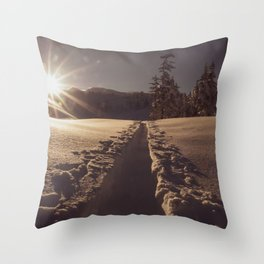 Sunrise Backcountry Ski // Skin Track to Snowy Paradise Throw Pillow