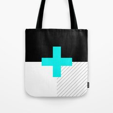 Neon Cross (Blue) // Neon Plus (Blue) Tote Bag