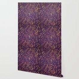 Dark Purple Gold Stripes Wallpaper