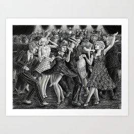 Boogie Woogie - charcoal drawing Art Print