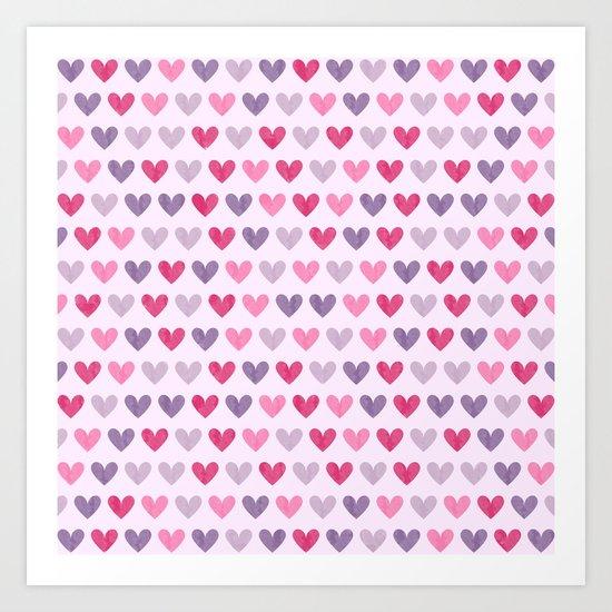 Colorful hearts V Art Print