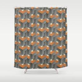 Burnt orange on concrete Shower Curtain
