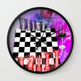 Another night of Chess abstract art Wall Clock