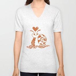 Valentine Snail with Heart Unisex V-Neck