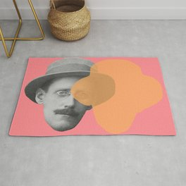 James Joyce - portrait pink and yellow Rug