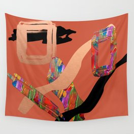 Abstract Collage on Orange Wall Tapestry