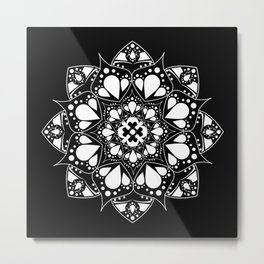 Mandala Black and White Magic Metal Print