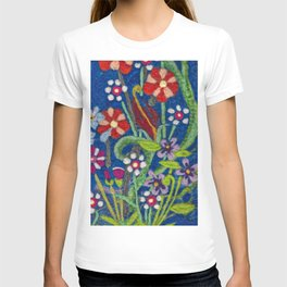 Cozy Felted Wool Flower Garden T-shirt