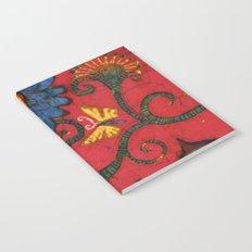 batik butterflies and flowers on red 2 Notebook