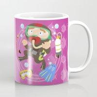 scuba Mugs featuring Scuba dive by Alapapaju
