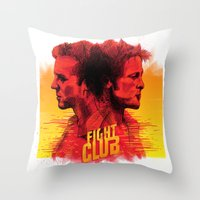 fight Throw Pillows featuring fight  by İsmail Kocabas