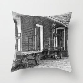 Train Station Platform Throw Pillow