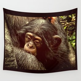 Baby Chimpanzee Cuddling Close to Mom with Vintage Look Wall Tapestry