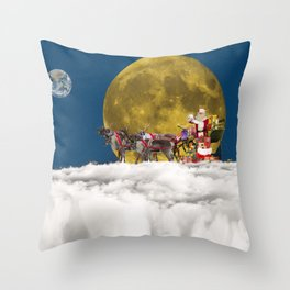 Santa and His Sleigh Throw Pillow