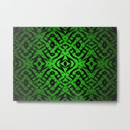 Green tribal shapes pattern Metal Print