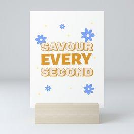Savour Every Second Cute Gold Blue Flowers Mini Art Print