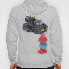 Concept Car Photography Toy with Red and Blue Figurine Hoody