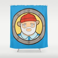 the life aquatic Shower Curtains featuring The Life Aquatic by evannave