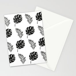black and white tropical leaves Stationery Cards