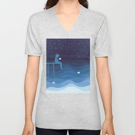 Boy with paper boats, blue Unisex V-Neck