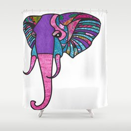 Pink Pastel Afro Print Elephant Shower Curtain