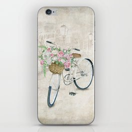 Vintage bicycles with roses basket iPhone Skin