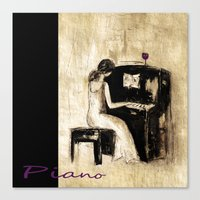 piano Canvas Prints featuring piano by woman