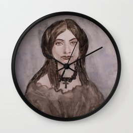 Watercolor Portrait of a Victorian Woman Wearing a Cross Necklace Wall Clock