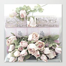 Shabby Chic Dreamy Pink Roses Cottage Floral Decor Canvas Print