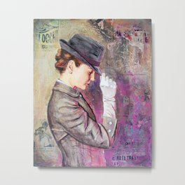 Grey Fedora Metal Print