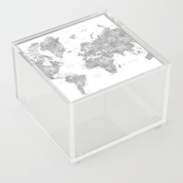 Grayscale watercolor world map with cities Acrylic Box