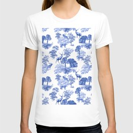 Classic French Toile Countryside Deer Pattern T-shirt