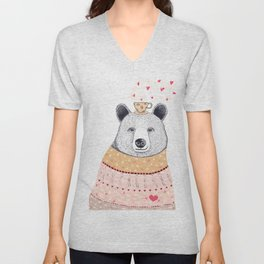 Bear lover of coffee Unisex V-Neck