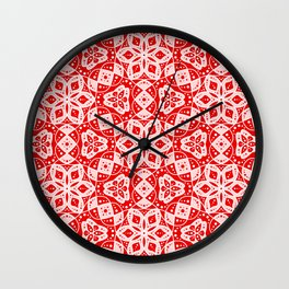 Red Pink and White Mini Mandala Abstract Flowing Floral Dotted Spirit Organic Wall Clock