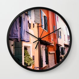 Colorfull houses | Italiy Venice Caorle  Wall Clock