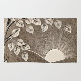 Sun and Tree Carved Stone Rug