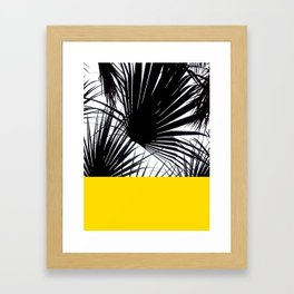 Black and White Tropical Palm Leaves on Sunny Yellow Framed Art Print