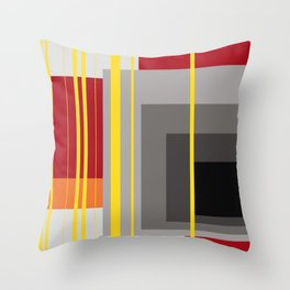 Stripes and squares in red - orange - grey - black Throw Pillow