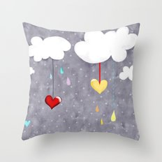 Clouds and Hearts Purple Polka Dots Throw Pillow