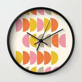 Cute Geometric Shapes Pattern in Pink Orange and Yellow Wall Clock