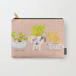 Kawaii dog cat hedgehog succulents Carry-All Pouch