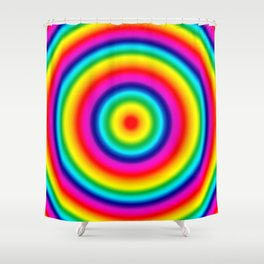 Psychedelic Rainbow Circles Pattern  Shower Curtain