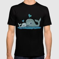 Whale Mom and Baby with Hearts MEDIUM Mens Fitted Tee Black