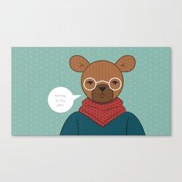 """Honey is my Jam"" Hipster Bear Canvas Print"