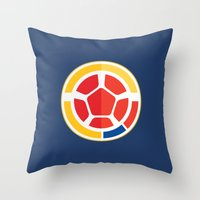 colombia Throw Pillows featuring WORLDCUP IS COMING! - COLOMBIA by Andres Corredor