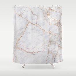 White Italian Marble & Gold Shower Curtain