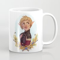 dragon age Mugs featuring Dragon Age Inquisition: Sera by Elies Indigne